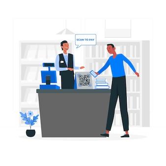 Conceptillustratie scannen om te betalen
