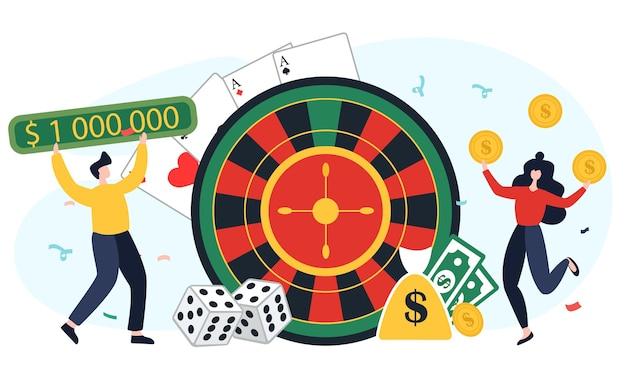 Conceptmensen verheugen zich over het winnen in een casino. vlakke afbeelding. een man en een vrouw spelen een kansspel, een gokautomaat en een roulette.
