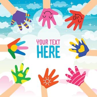 Conceptontwerp met geschilderde handen van kleine kinderen