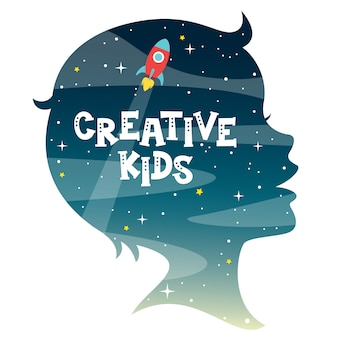 Conceptontwerp met kinderen silhouet