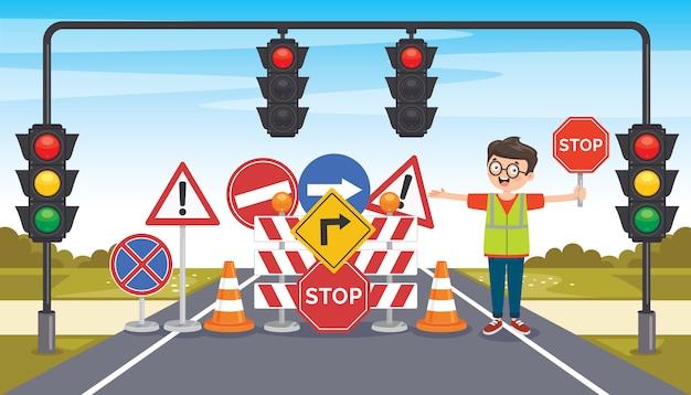Conceptontwerp met verkeersborden