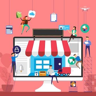 Conceptteam dat werkt voor online winkel e-commercetechnologie op desktop. illustreren.