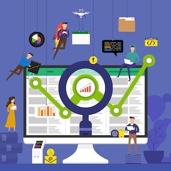 Conceptteam dat werkt voor technologieanalysegegevens op desktop. illustreren.