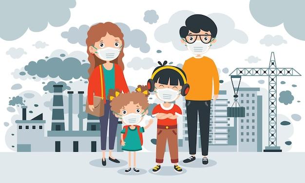 Concepttekening van luchtvervuiling