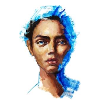 Conceptueel abstract schilderij van een mooi gezicht van een meisje olie portret schets schilderij