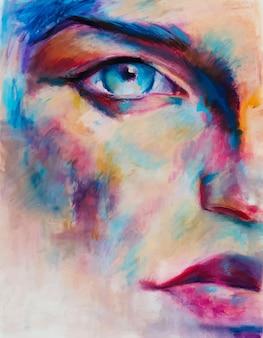 Conceptueel abstract vrouwengezicht mooi portretillustratie olieverfschilderij
