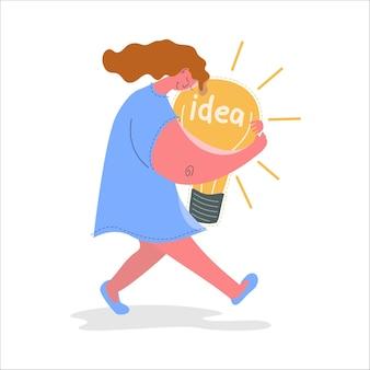 Conceptueel beeld van een meisje met een idee