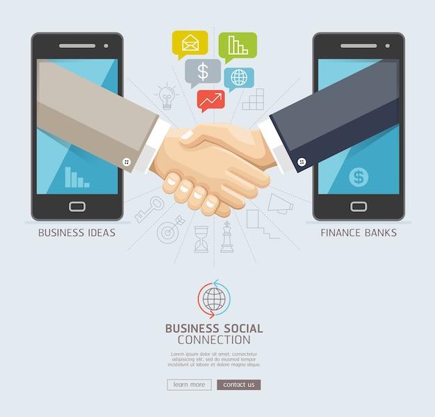 Conceptueel ontwerp van zakelijke sociale verbindingstechnologie.