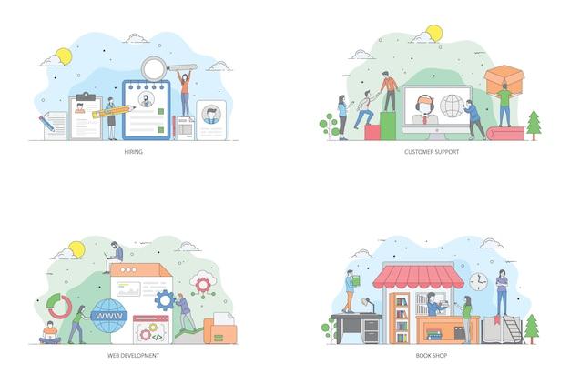 Conceptueel plat vectoren-illustratiepakket