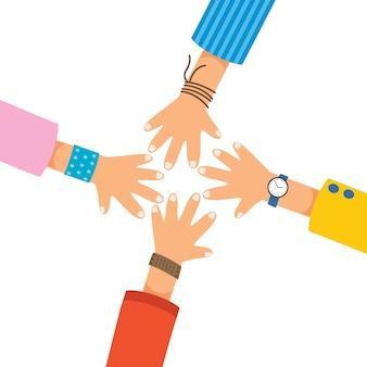 Conceptueel teamsymbool van handen