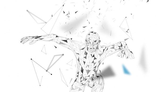 Conceptuele abstracte man in een sprong. verbonden lijnen, punten, driehoeken, deeltjes.