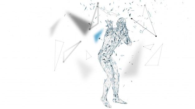 Conceptuele abstracte man is bang voor angst. verbonden lijnen, punten, driehoeken, deeltjes.