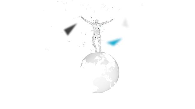 Conceptuele abstracte man met wereldbol. verbonden lijnen, punten, driehoeken, deeltjes. kunstmatige intelligentie concept. hoogwaardige technologie