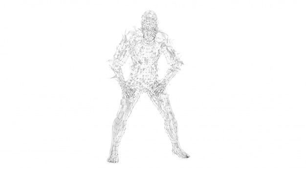 Conceptuele abstracte man. verbonden lijnen, punten, driehoeken, deeltjes op witte achtergrond.
