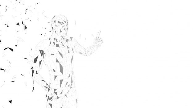 Conceptuele abstracte man wijzende vinger omhoog. verbonden lijnen, punten, driehoeken, deeltjes. kunstmatige intelligentie concept. geavanceerd technische vector digitale achtergrond. 3d render vectorillustratie