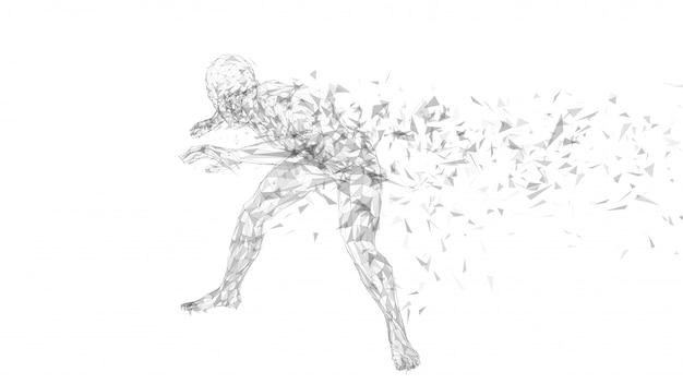 Conceptuele abstracte mens die zijn gezicht met hand verbergt. verbonden lijnen, punten, driehoeken, deeltjes.