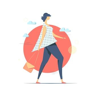 Conceptuele afbeelding van jonge vrouw wandelen.