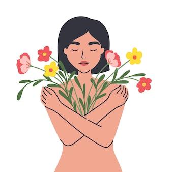 Conceptuele afbeelding van mentaliteit vrouw die zichzelf omhelst met liefde en mededogen vrouwelijk lichaam
