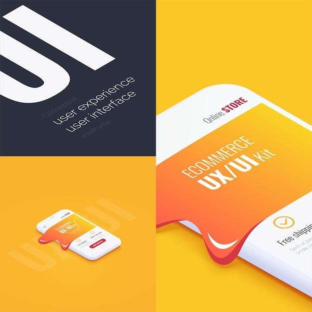 Conceptuele banner boekje brochurecard gebruikerservaring gebruikersinterface 3d-telefoon