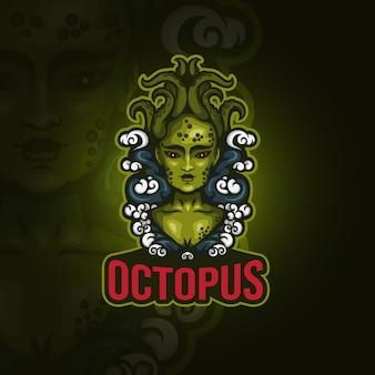 Conceptuele dame octopus esport logo
