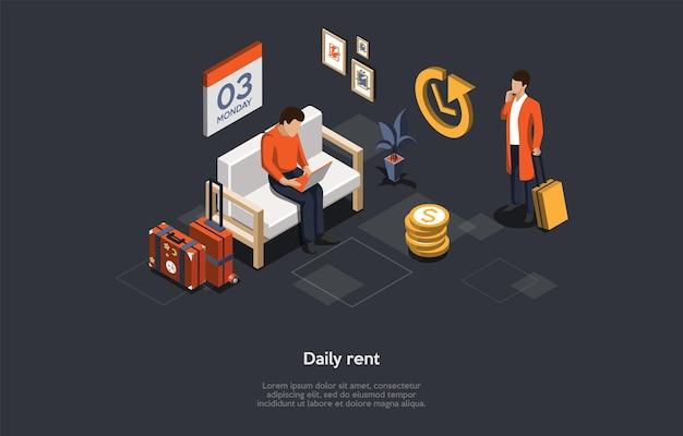 Conceptuele illustratie met tekst. isometrische vectorsamenstelling. cartoon 3d-stijl ontwerp. appartement dagelijkse huur, manier van betaling van onroerend goed. woningbedrijf, eigenaar of agentschap, hypotheekovereenkomst, verzekering