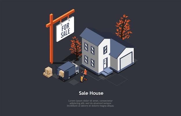 Conceptuele illustratie met tekst. isometrische vectorsamenstelling. cartoon 3d-stijl ontwerp. verkoop huis, onroerend goed handel, persoon die appartement verkoopt. twee karakters die handen schudden. agentschap advertentie.