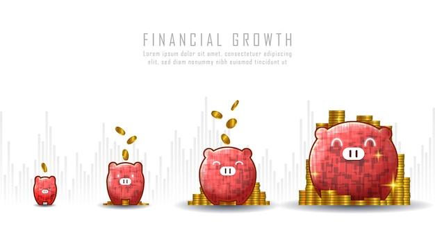 Conceptuele kunst van financiële groei met idee om munt in spaarvarken te steken geschikt voor groeiondernemingen of financiële investeringen