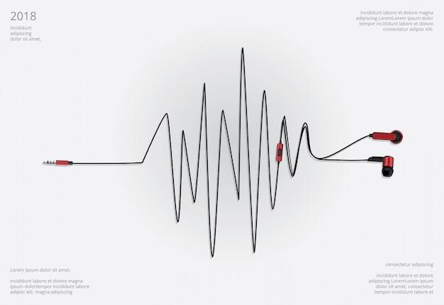 Conceptuele oortelefoons met telefoon vectorillustratie
