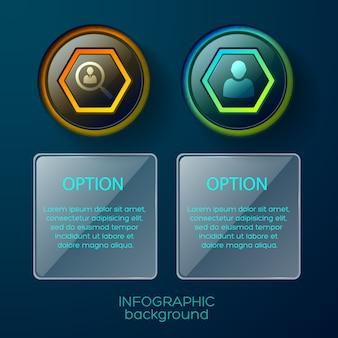Conceptuele samenstelling van twee geïsoleerde infographic kolommen elk met pictogram en vierkante tekstplaats