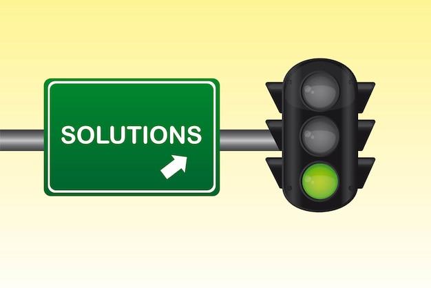 Conceptuele semafoor met oplossingen tekst vectorillustratie