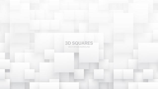 Conceptuele verschillende grootte vierkante blokken technologische witte abstracte achtergrond