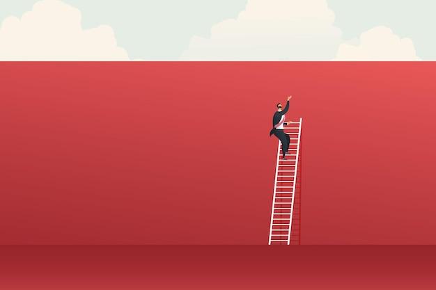 Conceptuitdaging met grote muur rood en zakenman kan geen ladder beklimmen