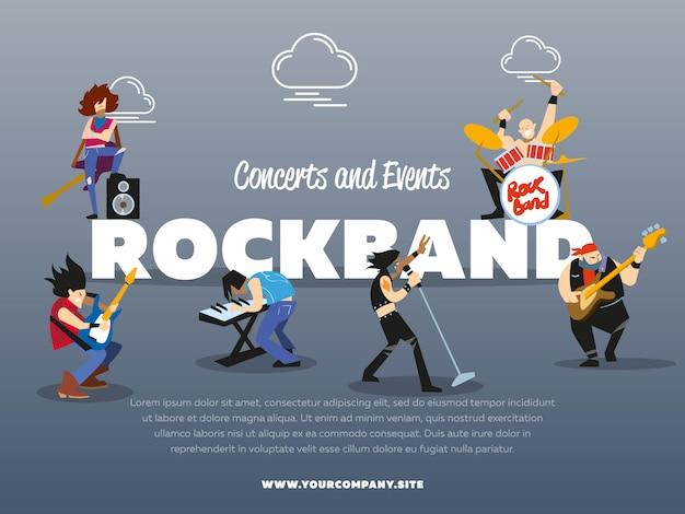 Concerten en evenementen rockband poster sjabloon