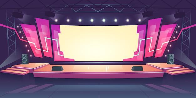 Concertpodium met scherm en schijnwerpers
