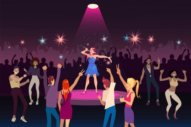 Concertuitvoering, discofeest met moderne muziek, concept van het nachtleven voor jeugdevenementen