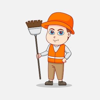 Conciërge in oranje uniform met een bezem