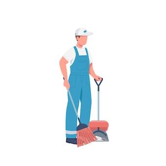 Conciërge met bezem egale kleur gezichtsloos karakter. schonere vegen vloer geïsoleerde cartoon afbeelding voor web grafisch ontwerp en animatie. commerciële conciërge, huishouding