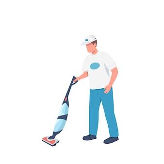 Conciërge met vacuümveger egale kleur gezichtsloos karakter. mannelijke huishoudster geïsoleerde cartoon afbeelding voor web grafisch ontwerp en animatie. professionele schoonmaakster, schoonmaakdienst