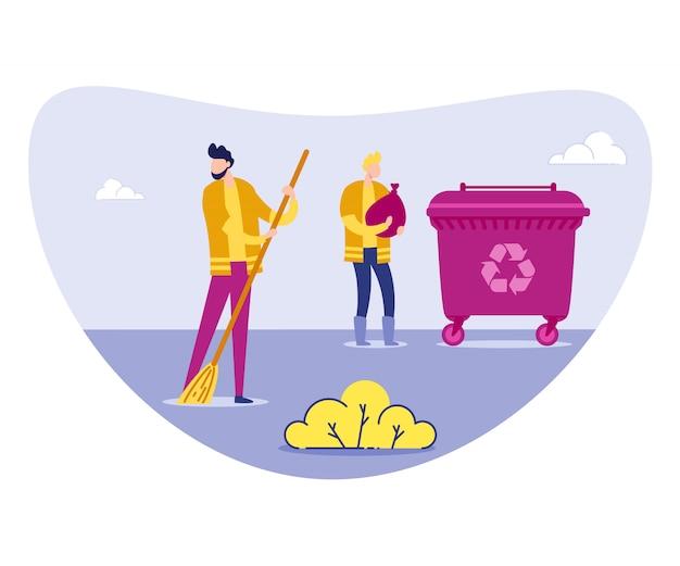 Conciërge of vrijwilliger in uniform sweeping litter
