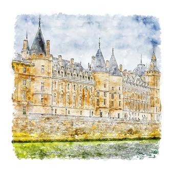 Conciergerie parijs frankrijk aquarel schets hand getrokken illustratie