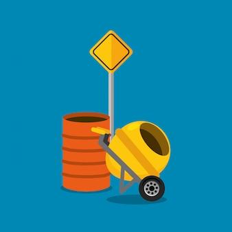 Concret mixer en vat verkeersbord constructie