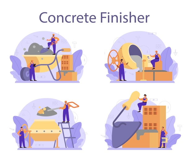 Concrete finisher builder set illustration