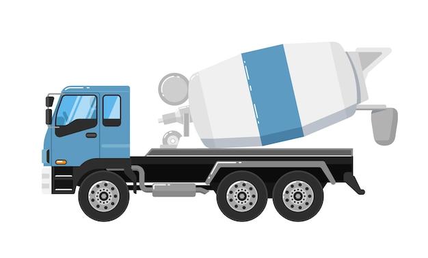 Concrete mixervrachtwagen op wit wordt geïsoleerd dat