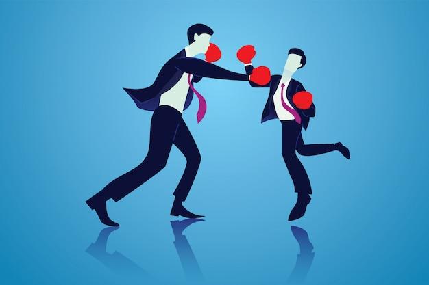 Concurrentie bedrijfsconcept. twee zakenlieden die boksgevecht doen