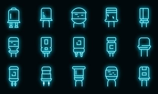 Condensator pictogrammen instellen. overzicht set van condensator vector iconen neon kleur op zwart