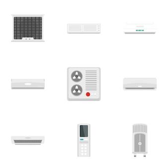 Conditioner apparatuur icon set, vlakke stijl