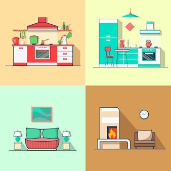 Condo accommodatie keuken slaapkamer woonkamer interieur indoor set.