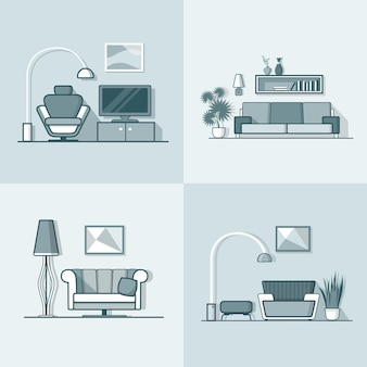 Condo accommodatie woonkamer gezellig modern minimalisme minimaal interieur binnenshuis. lineaire lijn vlakke stijl