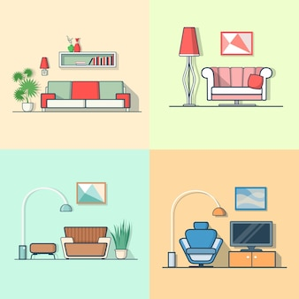 Condo accommodatie woonkamer gezellig modern minimalisme minimaal interieur binnenshuis.
