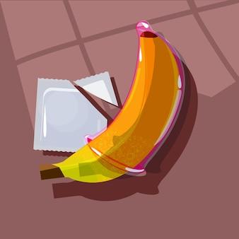 Condoom op een banaan. veilig seksconcept - illustratiion